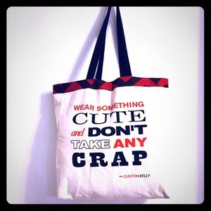 REVERSIBLE CANVAS TOTE W/SAYING